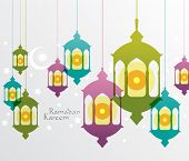 Vector Muslim Oil Lamp Graphics. Translation: Ramadan Kareem - May Generosity Bless You During The H