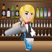 Cartoon Girl Bartender Pouring Cocktail