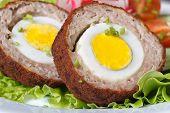 Healthy Breakfast Of Meat Stuffed Egg On The Lettuce