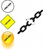 picture of blown-up  - chains breaking symbol sign and button - JPG
