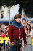 Riga, Latvia - August 21: Unidentified Man In Medieval Costume From Historical Reconstruction Club