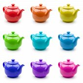 Set Of Colorful Teapots