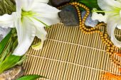 Oriental Abstract Background - Frame With Bamboo, Stones And Flo