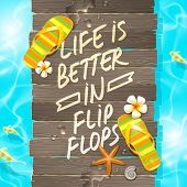 Summer vacation vector design - Wooden gangway with flip-flops and hand drawn saying