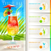 Booklet template with infographic elements - Tropical beach bar menu - vector summer vacation design