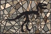 Editable vector mosaic illustration of the skeleton of a Tyrannosaurus rex dinosaur suggesting a fos