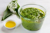 Pesto With Wild Garlic In A Jar