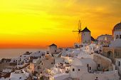 windmill of Oia at sunset, Santorini