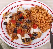 foto of enchiladas  - Two bean enchiladas with meat sauce and rice - JPG