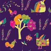 Ethnic seamless pattern with birds