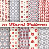 10 Floral fashionable vector seamless patterns (tiling)