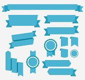Vector Blue retro ribbons set. Elements isolated