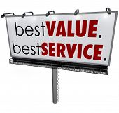 Best Value, Best Service words on a billboard top choice