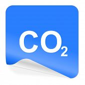 carbon dioxide blue sticker icon