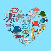 image of shell-fishes  - I Love Sea nautical themed design with various fish  a whale  shark  octopus  turtle  seahorse  lobster and crab in a heart shape on a turquoise blue background for the ocean with the text I Love Sea - JPG