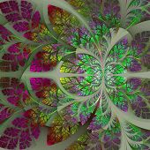 Fabulous Fractal Pattern In Purple, Yellow And Green. Collection - Tree Foliage. Computer Generated