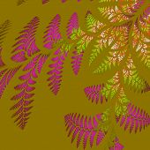 Asymmetrical Pattern Of The Leaves In Purple And Green. On Beige Background. Computer Generated Grap