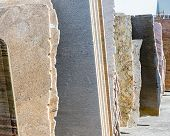 picture of yard sale  - Colorful granite slabs for sale in store yard - JPG