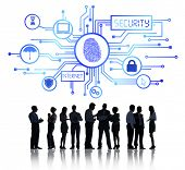 Sillhouettes of Business People Working and Network Security Concept