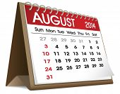 stock photo of august calendar  - August Calendar 2014 - JPG