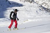 stock photo of italian alps  - Ski mountaineering or cross country skiing in Italian Alps