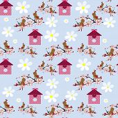 Cute Cartoon Birds And Birdhouse Seamless Pattern