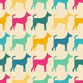 Funny animal seamless vector pattern of dog silhouettes. Endless