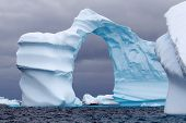 Huge Arch Shaped Iceberg in Antarctica