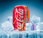 MOSCOW, RUSSIA-APRIL 4, 2014: Can of Coca-Cola Vanilla on ice. Coca-Cola is a carbonated soft drink sold in stores, restaurants, and vending machines throughout the world.