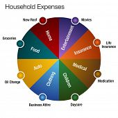 An image of a household expenses chart.