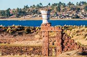 ceramic vase in the peruvian Andes at Puno Peru