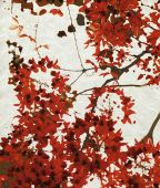 red Blossom Print On Chalky Paper