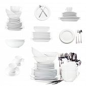 Collage of white tableware isolated on white