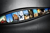 Film strip with colorful, vibrant photographs on grunge wall. Travel theme. All pictures used are mine