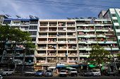 Yangon, Myanmar - October 12, 2013 - Facade Of Run-down Housing Block In The Indian Quarter