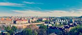 Panoramic view of bridges over Vltava river from Letna Park. Prague, Czech Republic. Stitched panorama