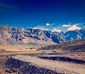 picture of manali-leh road  - Vintage retro effect filtered hipster style travel image of Manali - JPG