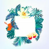 Square card with tropical decor