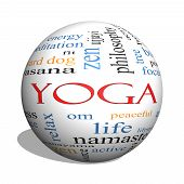 Yoga 3D Sphere Word Cloud Concept