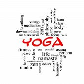 Yoga Word Cloud Concept In Red Caps