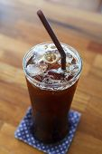 Ice Coffee Americano On Wood Table