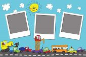 Funny Cartoon Doodle Photo Frame.child's Hand Draw Cars