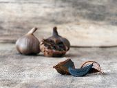 Fermented black garlic bulbs and cloves