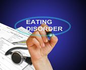 pic of bing  - writing word Eating disorder with marker on gradient background made in 2d software - JPG