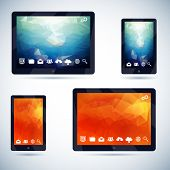 Polygonal Abstract Background on Mobile Devices with Icons Vector Illustration