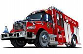 image of fire brigade  - Vector Cartoon Fire Truck - JPG