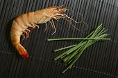 Cooked Shrimp With Black Background And Green Plants