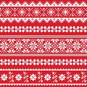 Ukrainian folk emboidery white pattern on red background