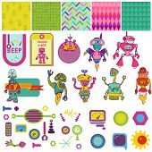 Funny Robots Theme - Scrapbook Design Elements - for party, decoration, birthday -  in vector