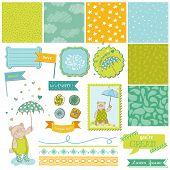 Baby Bear Shower Theme - Scrapbook Design Elements - in vector
